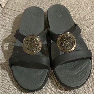 Crocs Black/Silver Slides Sandals New